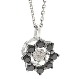 Beverly Hills Charm 10k White Gold 1/4ct TDW Black and White Star PULSE Diamond Necklace