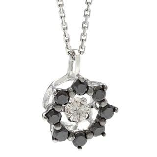 Beverly Hills Charm 10k White Gold 1/4ct TDW Black and White Star PULSE Diamond Necklace (H-I, SI2-I1)