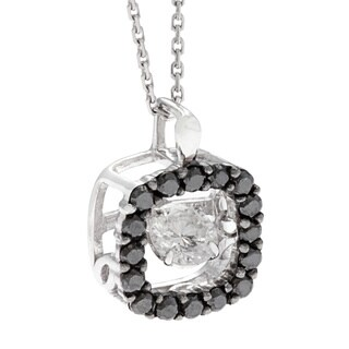 Beverly Hills Charm 10k Gold 1/2ct TDW Black and White PULSE Diamond Necklace