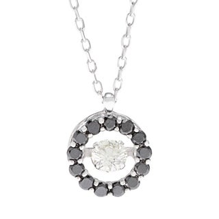 Beverly Hills Charm 14k White Gold 4/5ct TDW Black and White PULSE Diamond Halo Necklace