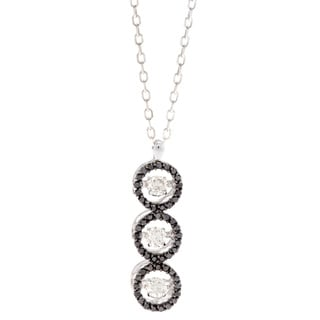 Beverly Hills Charm 14k White Gold 1/2ct TDW Black and White 3-stone PULSE Diamond Necklace