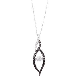 Beverly Hills Charm 'Rhythm Dancing Stone' 10k White Gold 1/2ct TDW Black and White Diamond Necklace (H-I, SI2-I1)