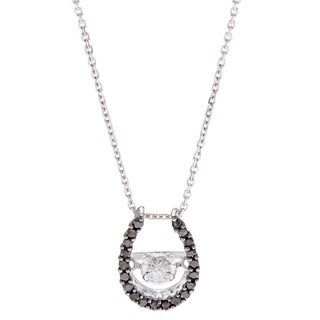 Beverly Hills Charm 10k White Gold 1/3ct TDW Black and White Horseshoe PULSE Diamond Necklace