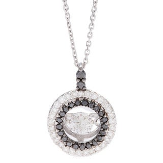 Beverly Hills Charm 10k Gold 2/5ct TDW Black and White Double Halo PULSE Diamond Necklace (H-I, SI2-I1)