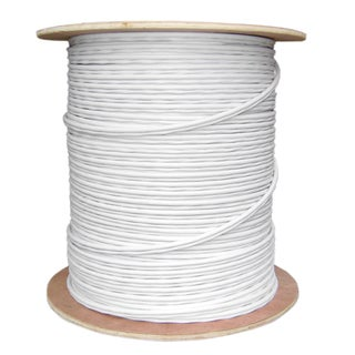 Offex RG59 Siamese Solid Coaxial Cable + 18/2 (18AWG 2C) Power White - 1000 ft Spool