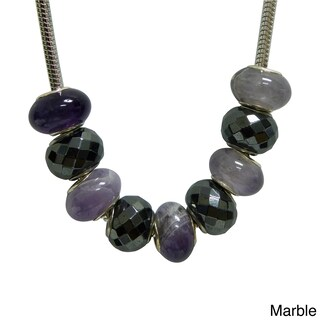 Hematite/ Glass Bead Magnetic Necklace (Option: Magnetic Pandora Style Magnetic beads marble pur)