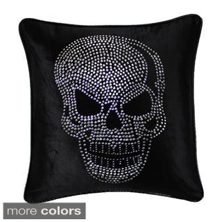 Jackson Morgan Silver Skull on Velvet 20-inch Throw Pillow