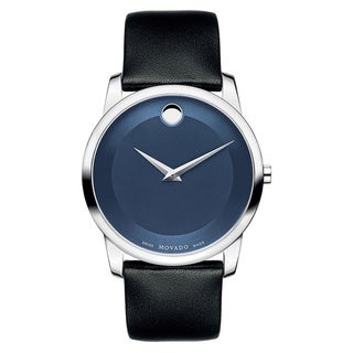 Movado Men's 'Museum' Black Leather Blue Dial Watch