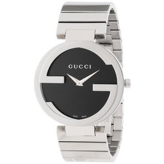 Gucci Women's YA133307 Interlocking Iconic Bezel Black Dial Watch