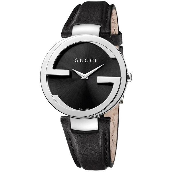 8b6faef20ab Shop Gucci Women s YA133501  Interlocking  Black Dial Black Leather ...