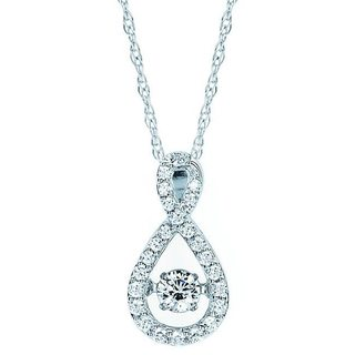 Brilliance in Motion 14k White Gold 1/3ct TDW Teardrop Infinity Diamond Pendant w/ Chain