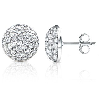 Auriya 14k White Gold 2ct TDW Diamond Pave Ball Earrings (H-I, SI1-SI2)