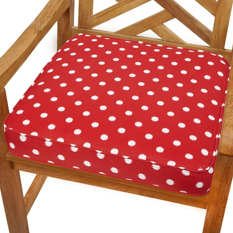 Red Dots 20-inch Indoor/ Outdoor Corded Chair Cushion