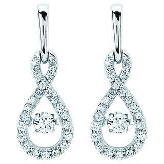 Boston Bay Diamonds Brilliance In Motion 14k White Gold 3/8ct TDW Diamond Teardrop Earrings (I-J, I1-I2)