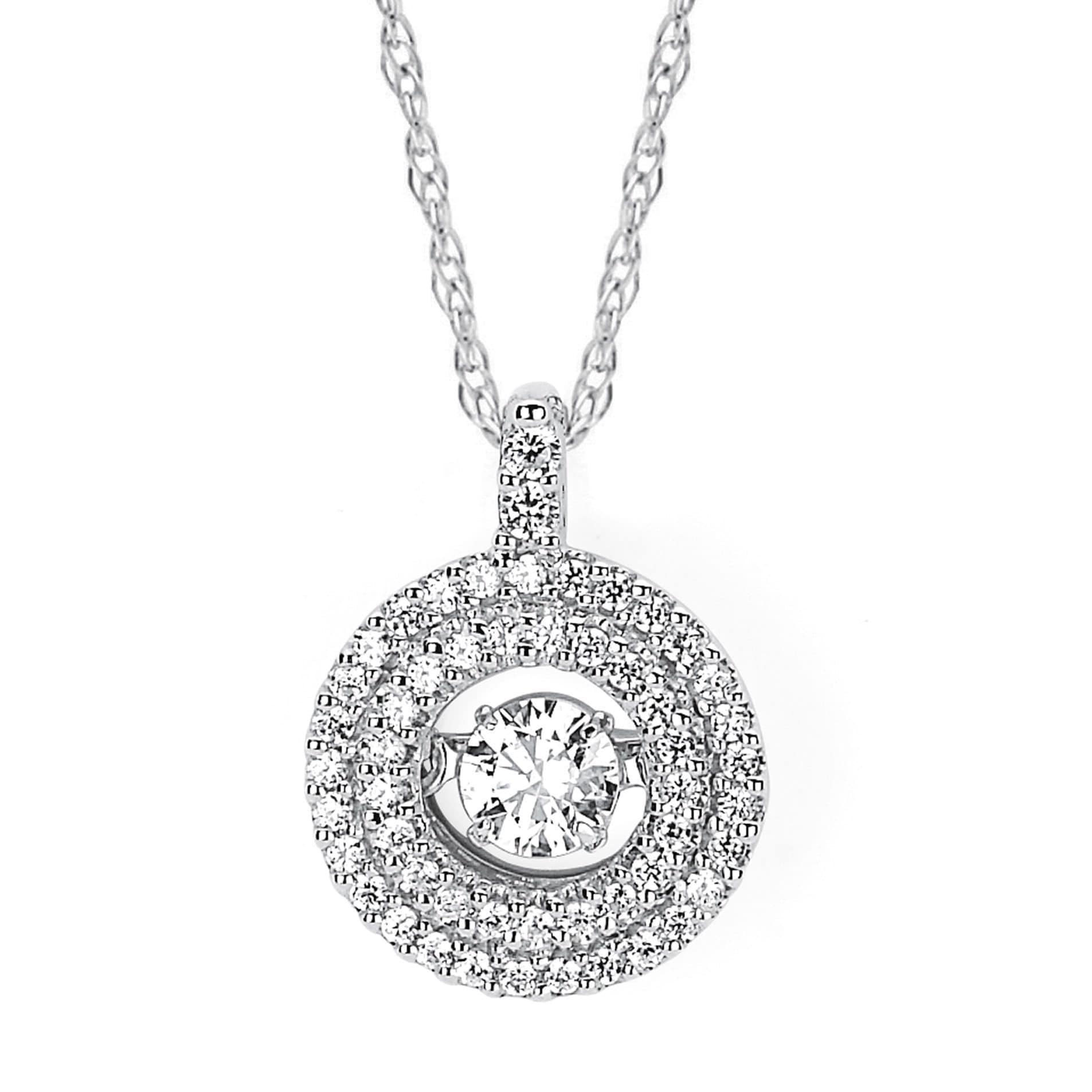 Boston Bay Diamonds 14k White Gold Brilliance in Motion 3/8ct TDW Diamond Double Circle Pendant Necklace (I,I1)