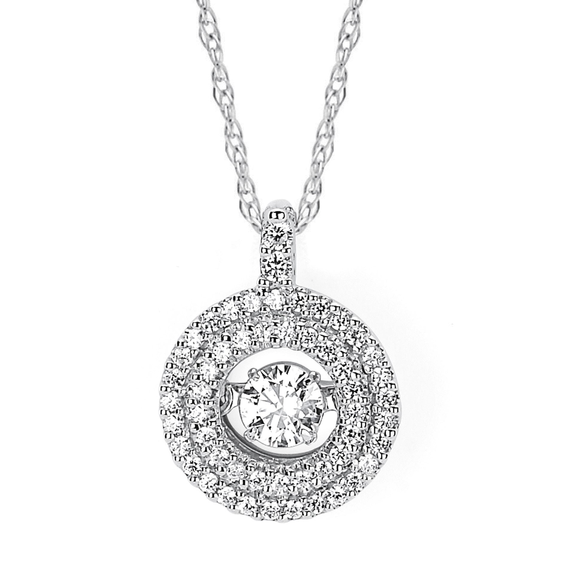 Boston Bay Diamonds Brilliance in Motion 14k White Hold 3/8ct TDW Floating Diamond Double Circle Necklace (I-J, I1-I2)