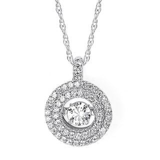 Brilliance in Motion 14k White Gold 2/5ct TDW Diamond Double Circle Pendant w/ Chain