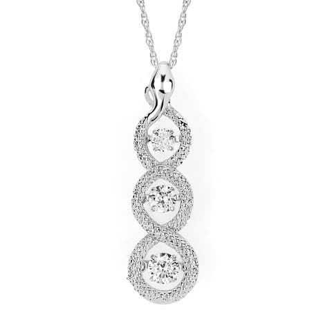 Brilliance in Motion 14k White Gold 1/2ct TDW Diamond Linear Circle Pendant w/ Chain