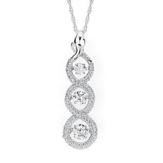 Boston Bay Diamonds Brilliance in Motion 14k White Gold 1/2ct TDW Floating Diamond Linear Circle Necklace (I-J, I1-I2)