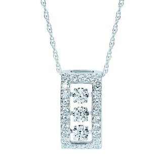 Boston Bay Diamonds Brilliance in Motion 14k White Gold 3/4ct TDW Floating Diamond Rectangle Necklace (I-J, I1-I2)