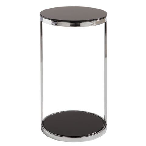 Sunpan 'Ikon' Benjamin Stainless Steel/ Black End Table