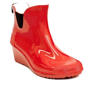 Women's Short Ankle Red Rain Boots