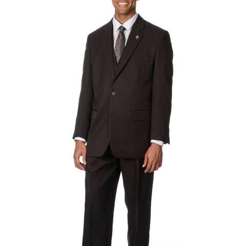 Stacy Adams Men's Brown 3-piece Vested Suit