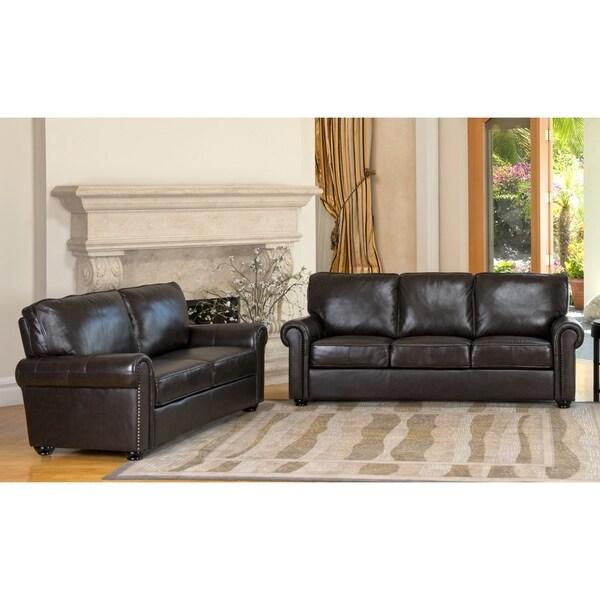Abbyson Living 'London' Italian Leather Sofa and Loveseat with Bonus Armchair