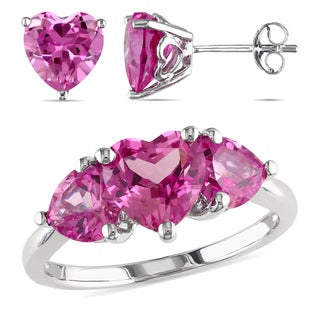 Miadora Sterling Silver 2-piece Set of Created Pink Sapphire Heart Ring and Earrings