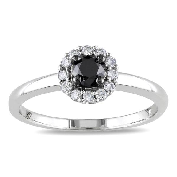Miadora Sterling Silver 1/2ct TDW Black and White Diamond Halo Ring