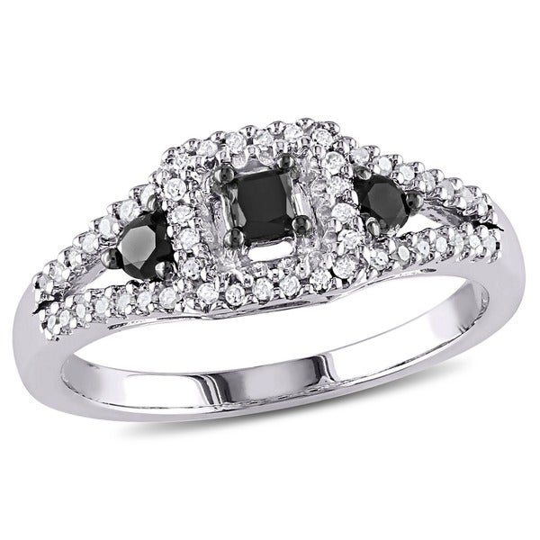 Miadora Sterling Silver 1/2ct TDW Black and White Diamond Ring
