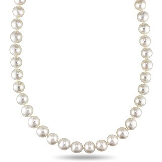 Miadora Signature Collection 14k Yellow Gold White Cultured Akoya Pearl Necklace (9.5-10 mm)