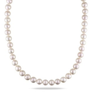 Miadora Signature Collection 14k Yellow Gold White Cultured Akoya Pearl Necklace (8.5-9 mm)