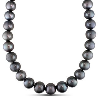 Miadora Signature Collection 14k White Gold Tahitian Pearl and Diamond Accent Necklace (15-18 mm)