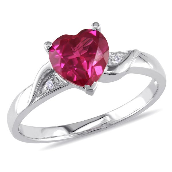 Miadora Sterling Silver Diamond and Created Ruby Heart Ring