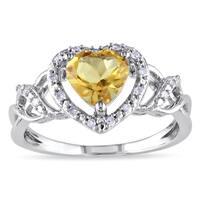 Miadora Sterling Silver Citrine and 1/10ct TDW Diamond Heart Ring (H-I, I2-I3)