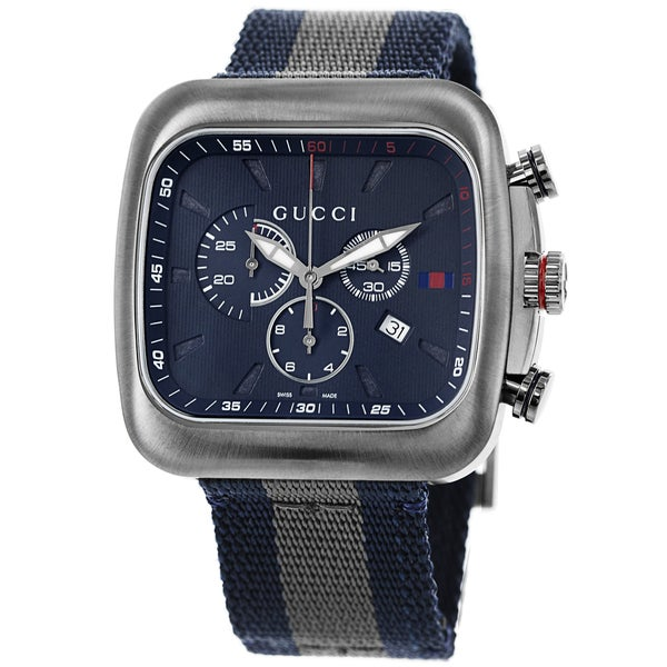 f7569ff491c Shop Gucci Men s YA131203  Coupe  Blue Dial Blue-Grey-Blue Nylon ...