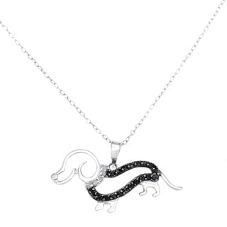 Sterling Silver Black Diamond Dachshund Dog Diamond Necklace