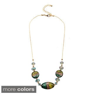Alexa Starr Fancy painted and faceted glass slider Illusion necklace