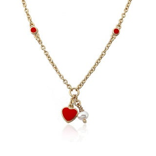 Little Miss Twin Stars Goldplated Brass Children's Red Heart and Pearl Necklace