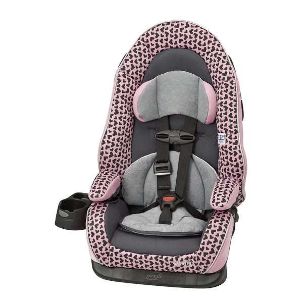 Evenflo Chase LX Booster Car Seat In Pink Hearts