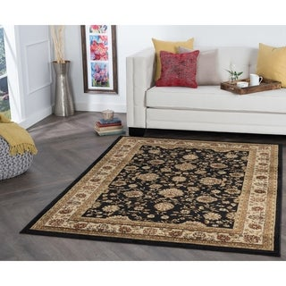 Alise Rhythm Black Traditional Area Rug - 9'3 x 12'6