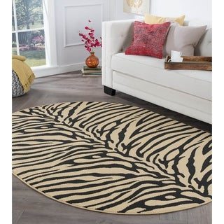 Alise Rhythm Beige Transitional Area Rug (5'3 x 7'3 Oval)
