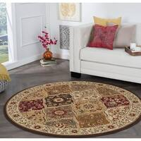 Alise Rugs Rhythm Traditional Abstract Round Area Rug - multi - 5'3 x 5'3