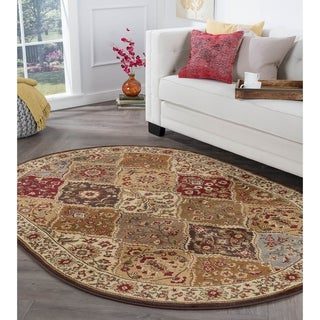 Alise Rugs Rhythm Traditional Abstract Oval Area Rug - 6'7 x 9'6