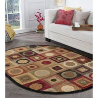 Alise Rugs Rhythm Multi Contemporary Oval Area Rug - 5'3 x 7'3
