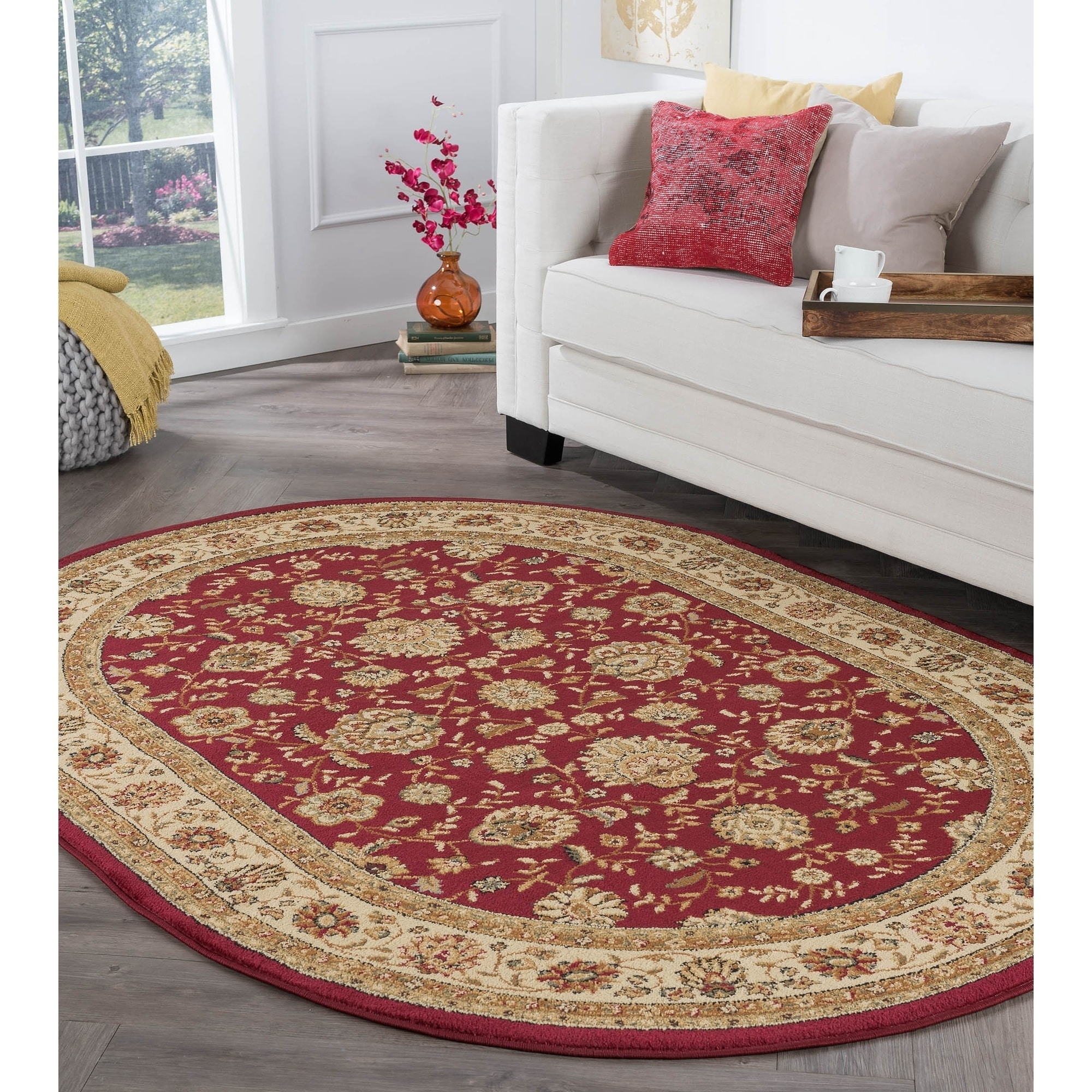 Alise Rhythm Red Traditional Area Rug (6'7 x 9'6 Oval), M...