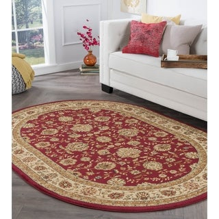 Alise Rhythm Red Traditional Area Rug (6'7 x 9'6 Oval) - 6'7 x 9'6