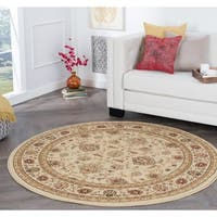 Alise Rugs Rhythm Beige Traditional Round Area Rug - 5'3