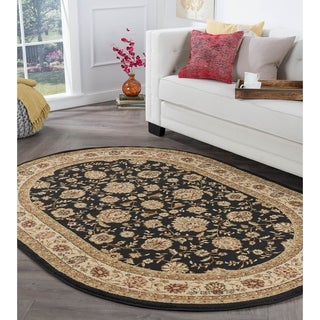 Alise Rhythm Black Traditional Area Rug (5'3 x 7'3 Oval) - 5'3 x 7'3